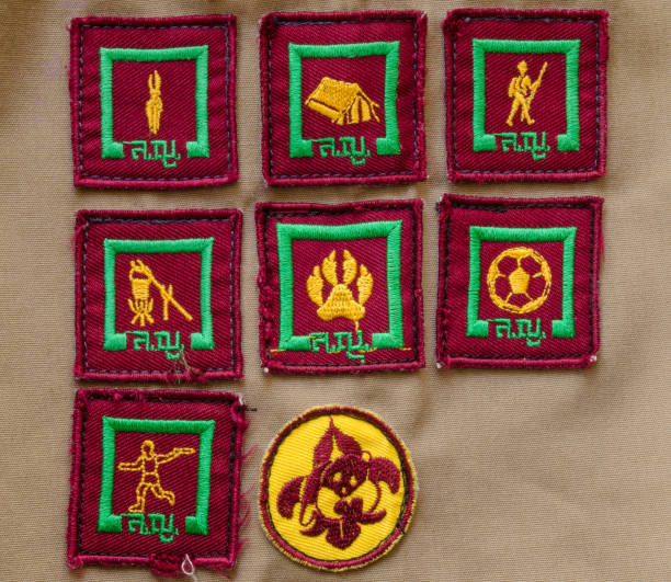 badges on scout uniform of Thai student stock photo