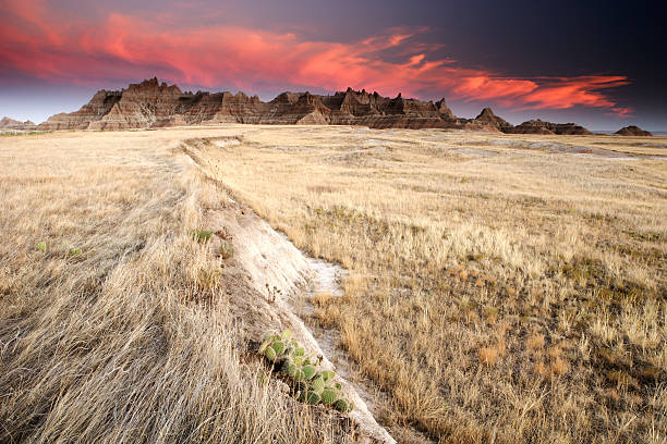 badlands and prairie field at sunset - great plains stock photos and pictures