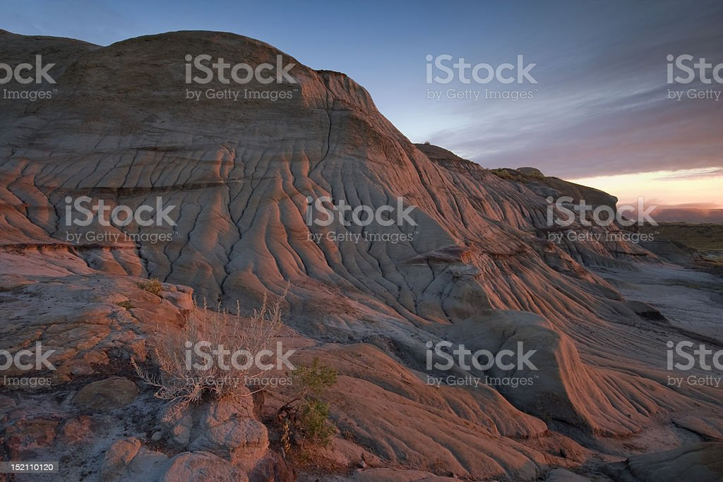 badlands in low light stock photo