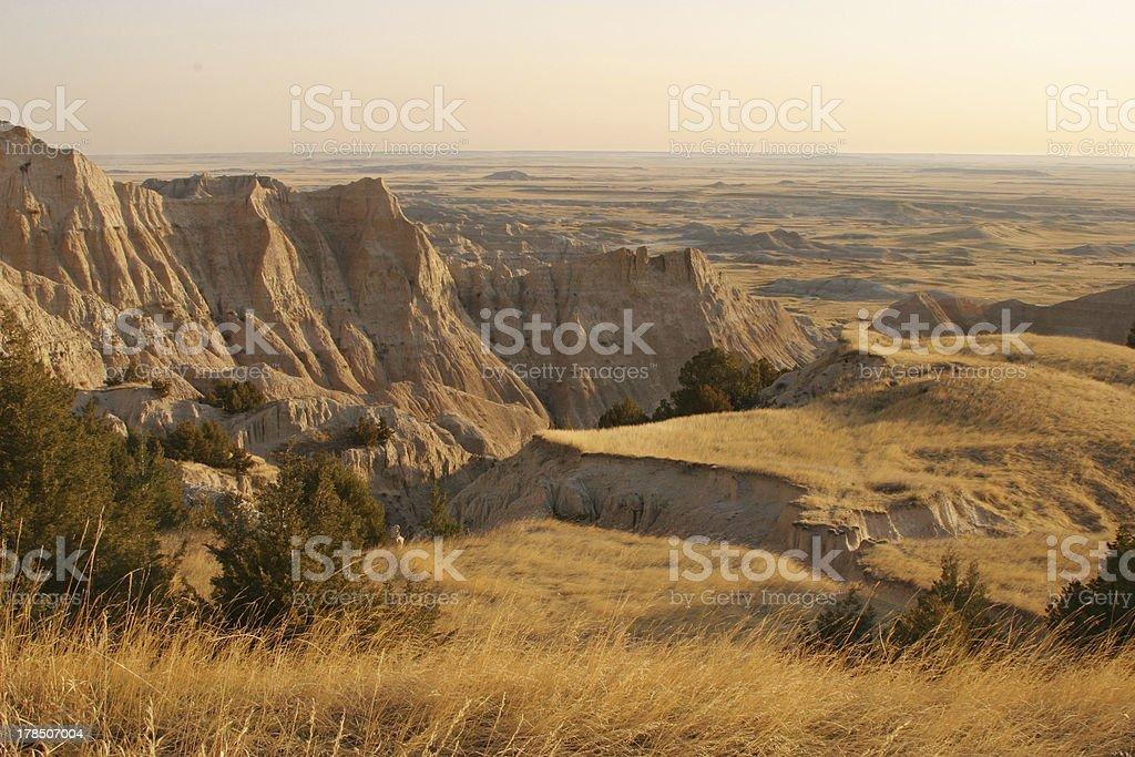 Badlands landscape in morning light stock photo