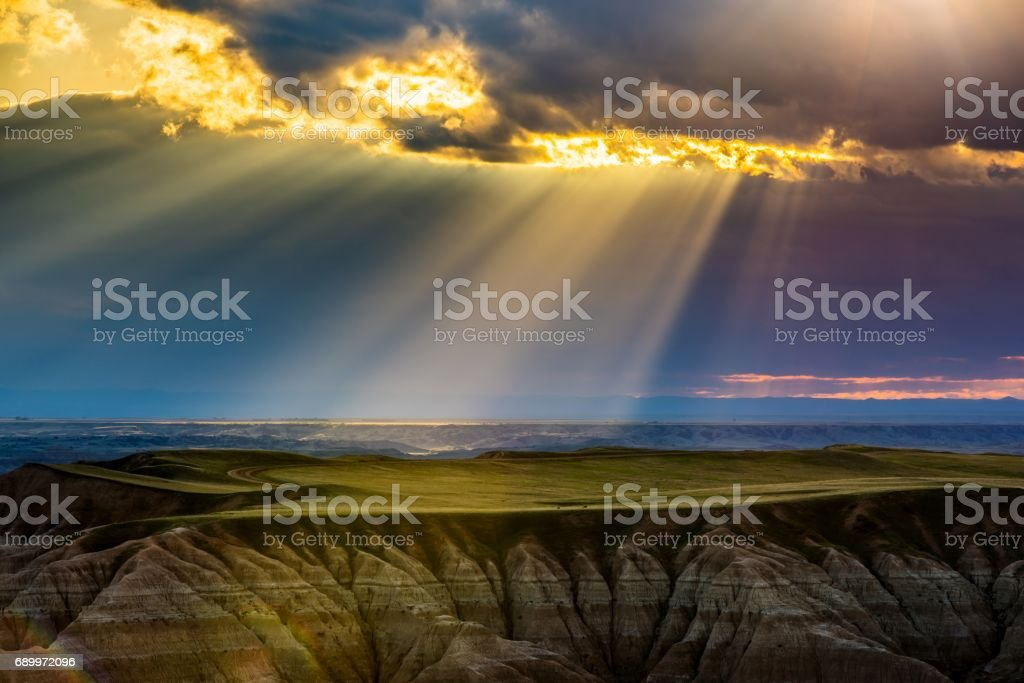 Badlands National Park at Sunset stock photo