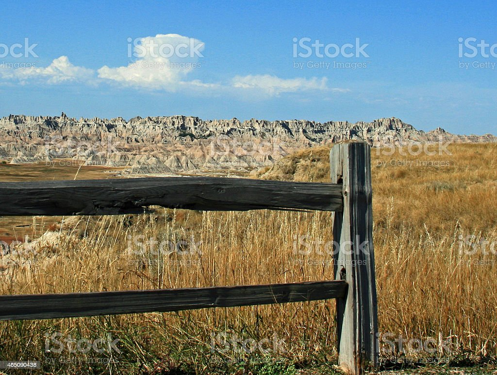 Badlands National Park - Fence post view stock photo