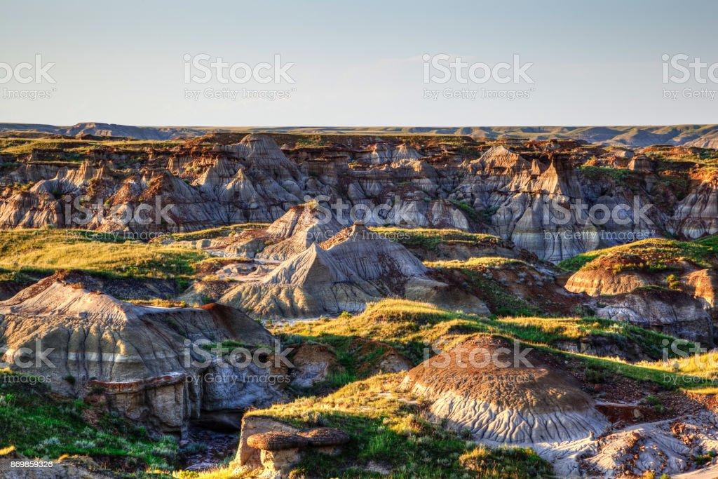 Badlands of Dinosaur Provincial Park in Alberta, Canada stock photo