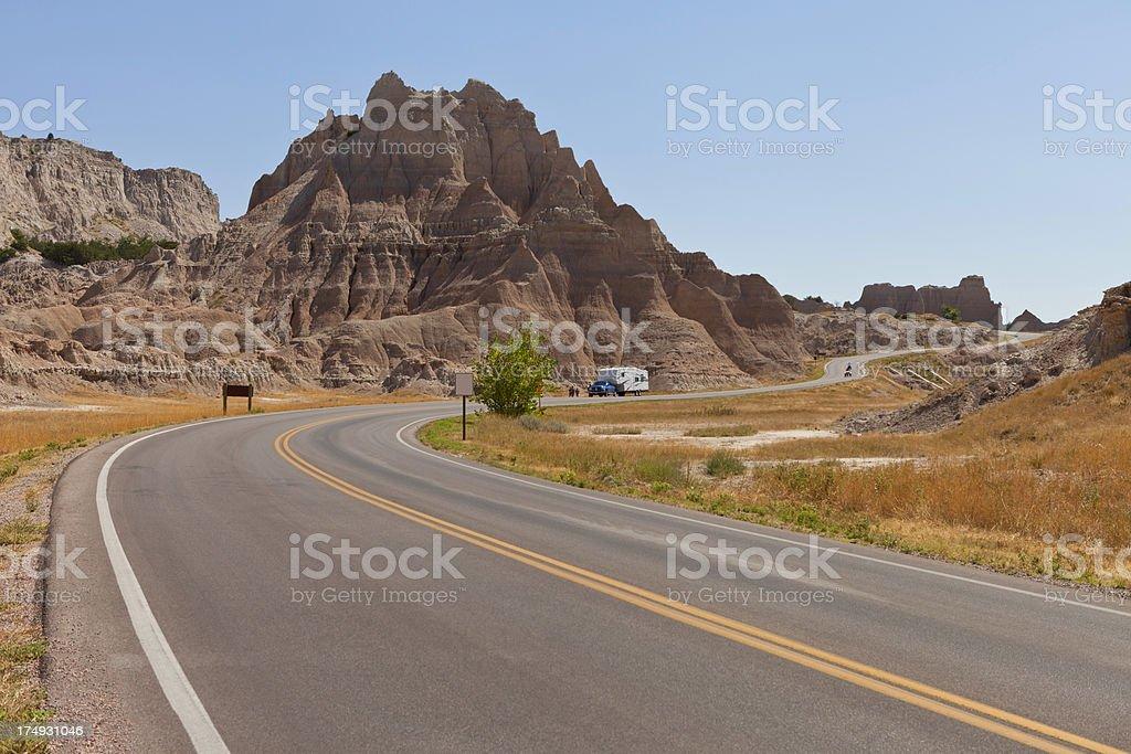 Badlands Road, South Dakota royalty-free stock photo
