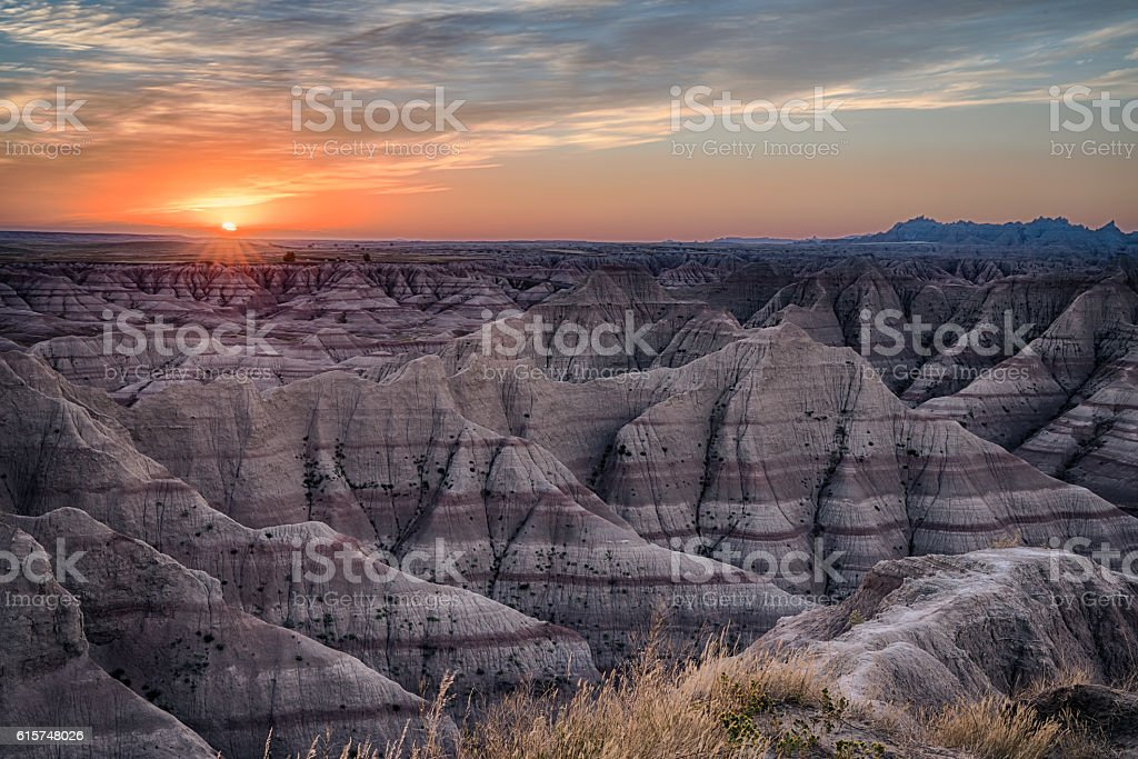 Badlands Sunset stock photo