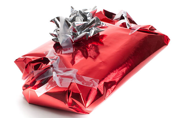 badly wrapped, messy christmas present - rudeness stock pictures, royalty-free photos & images