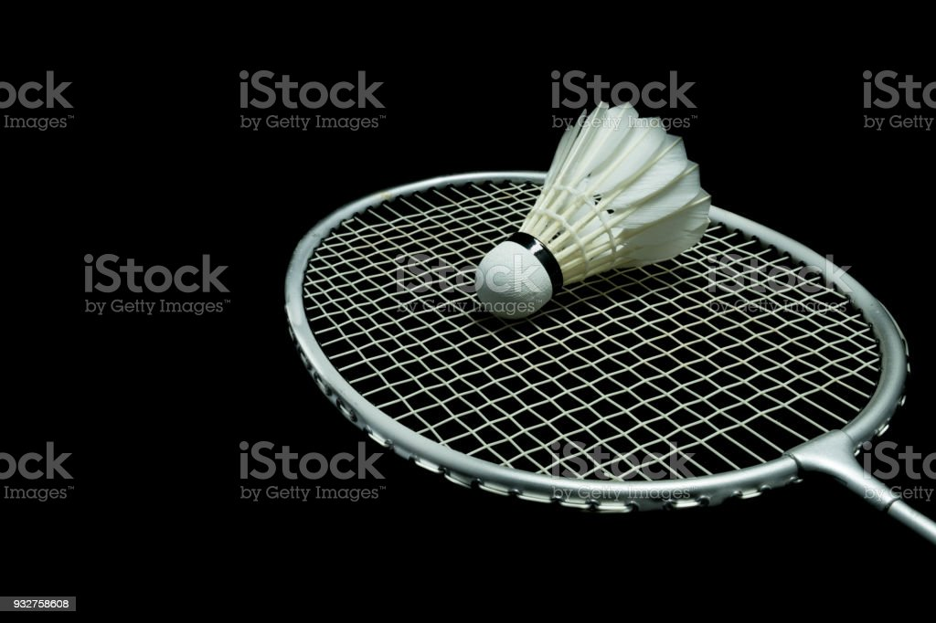 Badminton ball on black background – zdjęcie