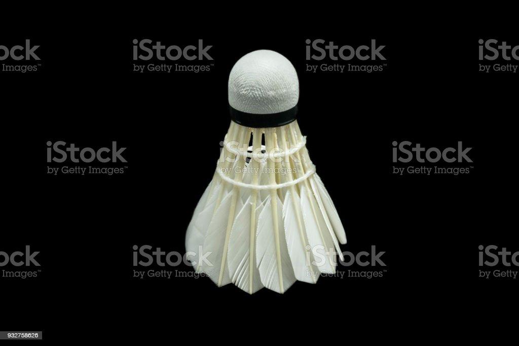 Cтоковое фото Badminton ball on black background