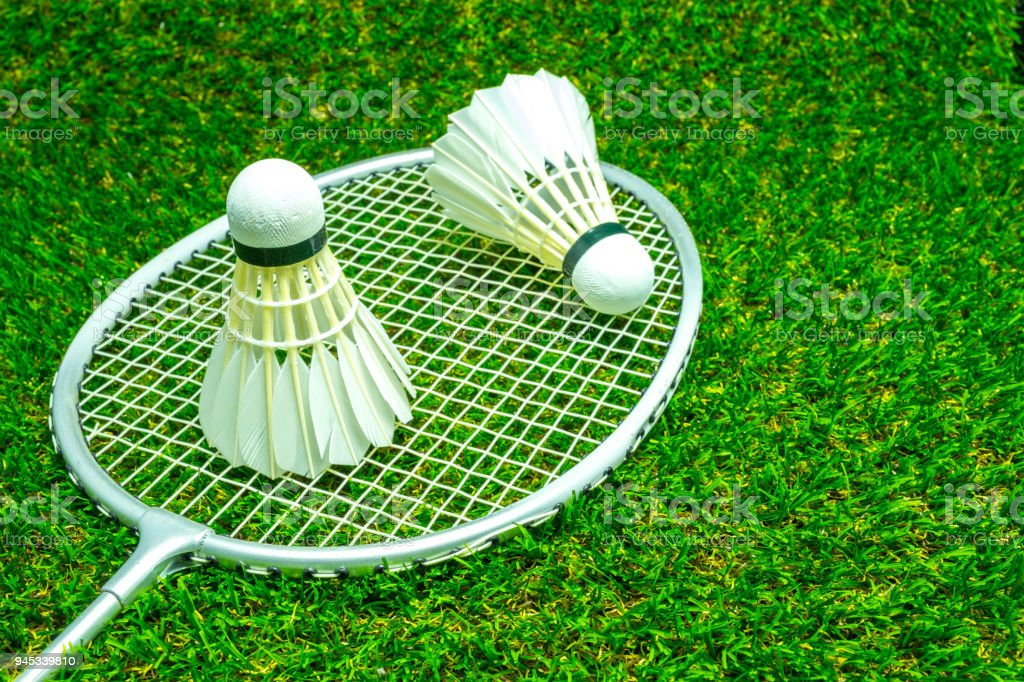 Badminton ball on grass – zdjęcie