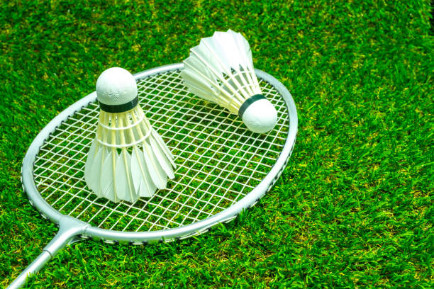 Badminton ball on grass Badminton ball on grass badminton stock pictures, royalty-free photos & images