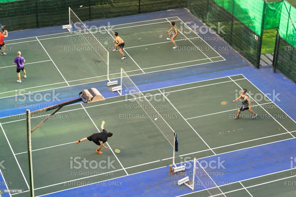 Hanoi, Vietnam - Oct 2, 2016: Badminton court aerial view in Minh Khai street stock photo