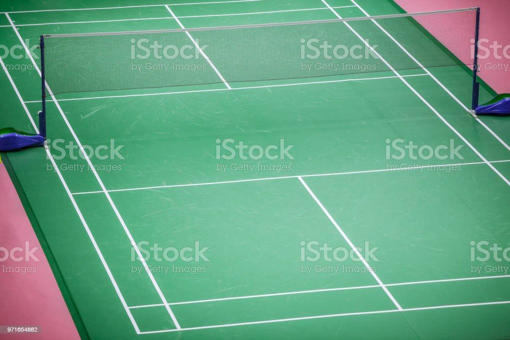 badminton court green floor standard in master tournament stock photo