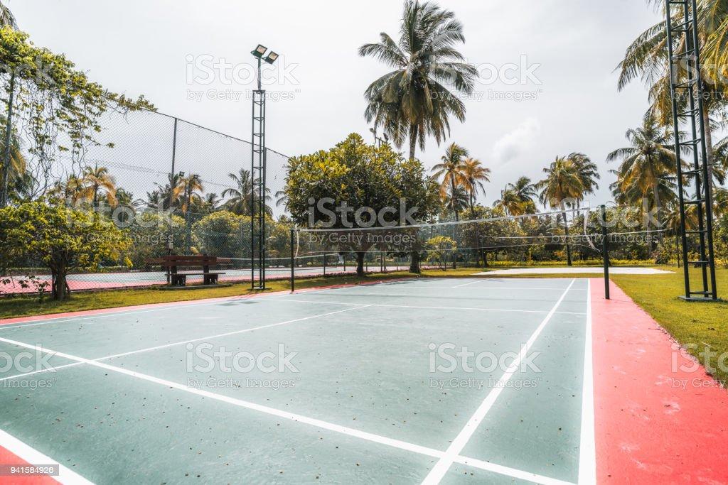 Badminton court in luxury Maldives resort stock photo