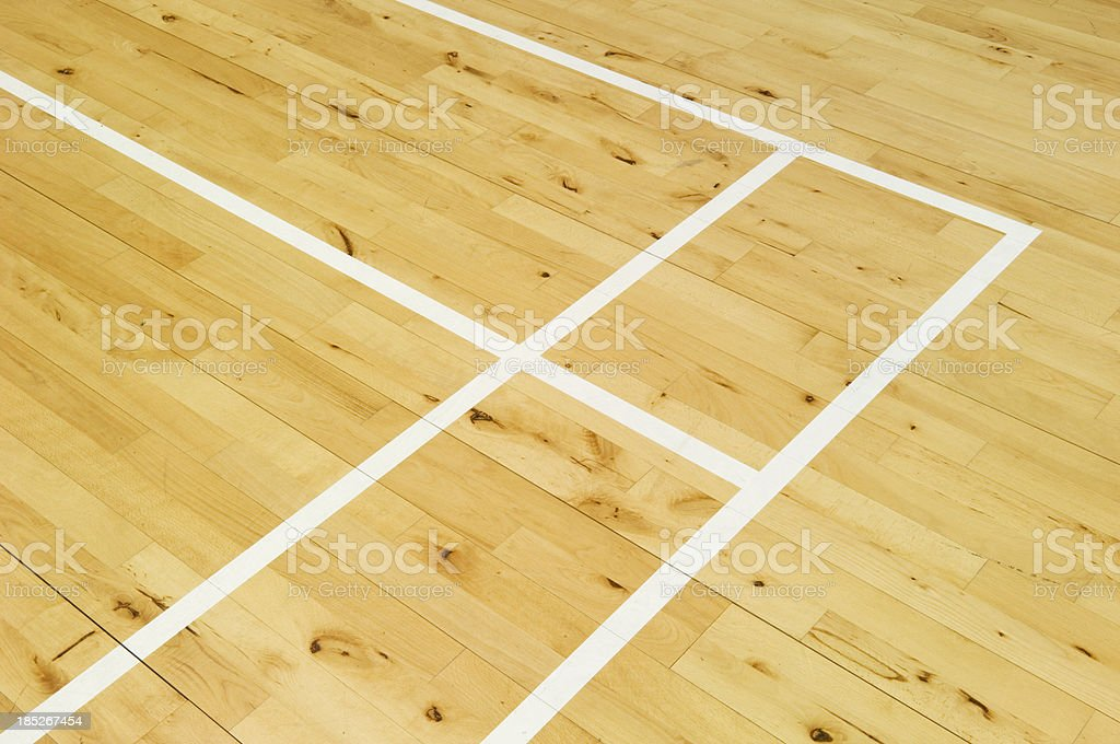 Badminton court markings stock photo
