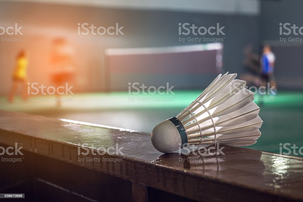 Badminton courts with players competing stock photo