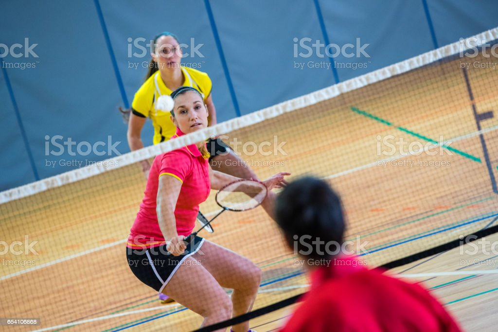Badminton mixed doubles stock photo