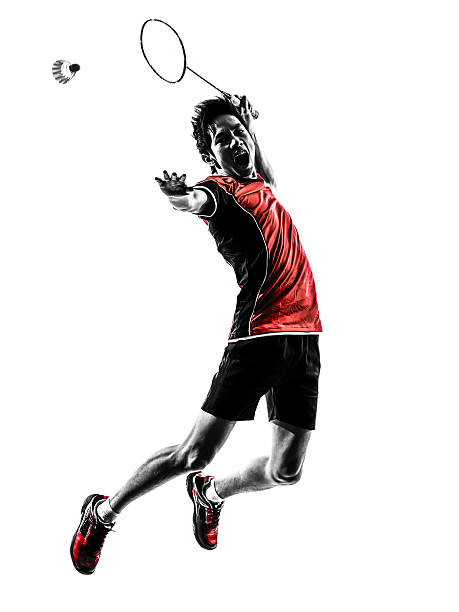 badminton player young man silhouette one asian badminton player young man in silhouette white background badminton stock pictures, royalty-free photos & images