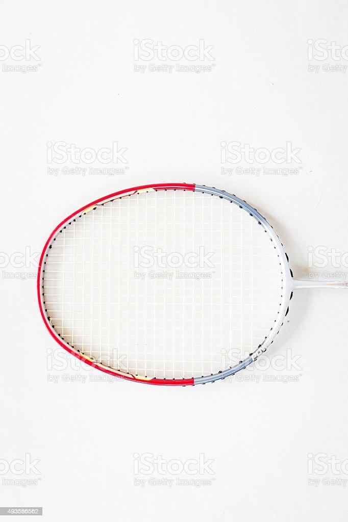 Badminton racket on white background stock photo