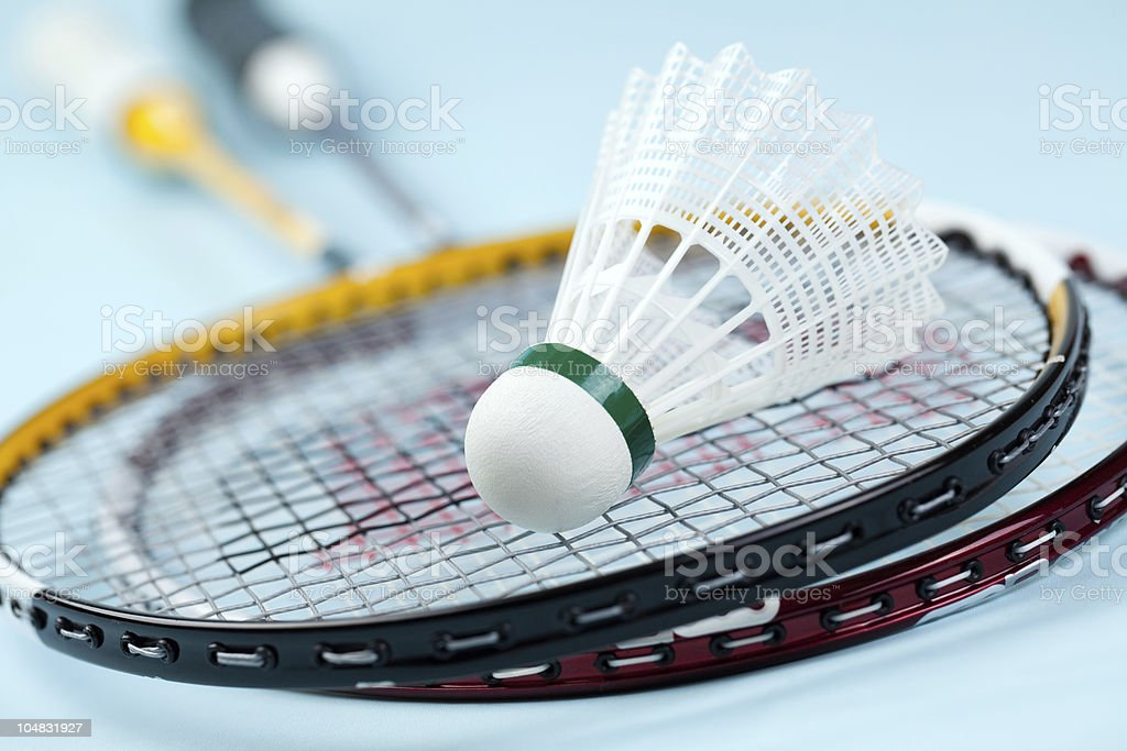 Badminton rackets with shuttlecock stock photo