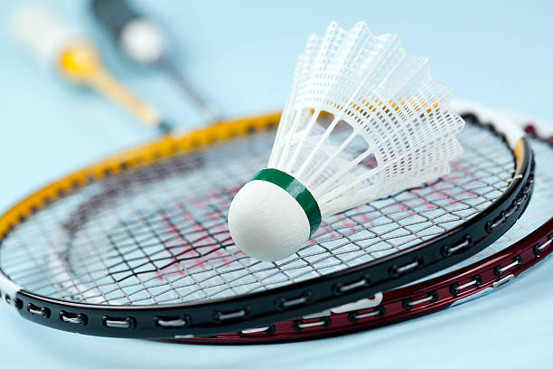 Badminton rackets with shuttlecock the photo shot of badminton shuttlecock badminton stock pictures, royalty-free photos & images
