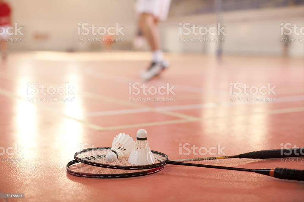 Badminton shuttlecock on the floor stock photo