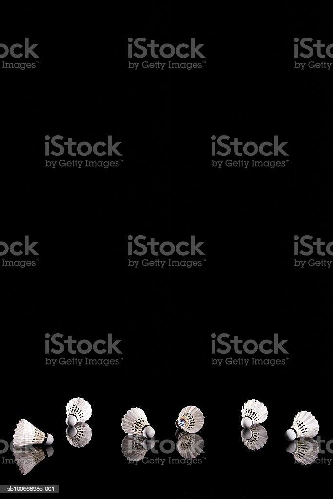 Badminton shuttlecocks on black background 免版稅 stock photo
