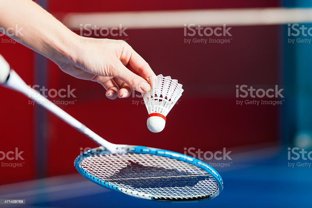 Badminton sport in gym - hand with shuttlecock stock photo