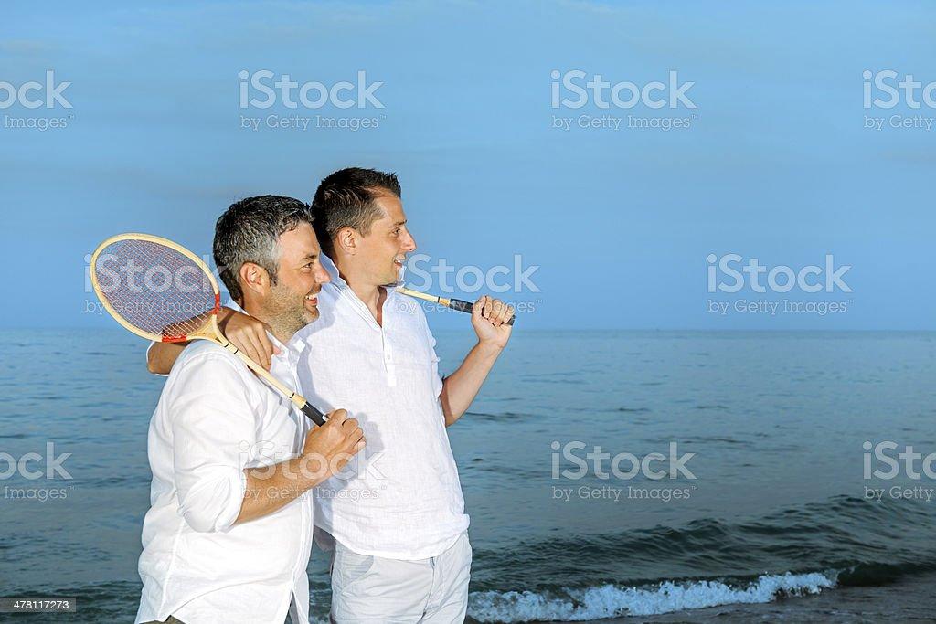 badminton team on beach royalty-free stock photo