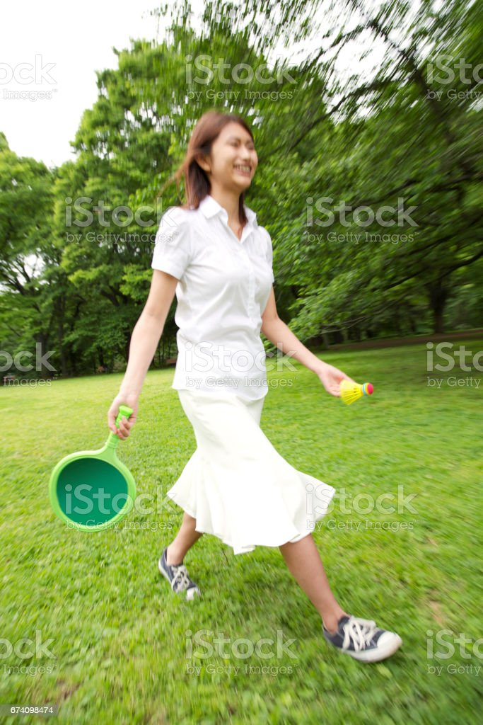 Badminton women stock photo