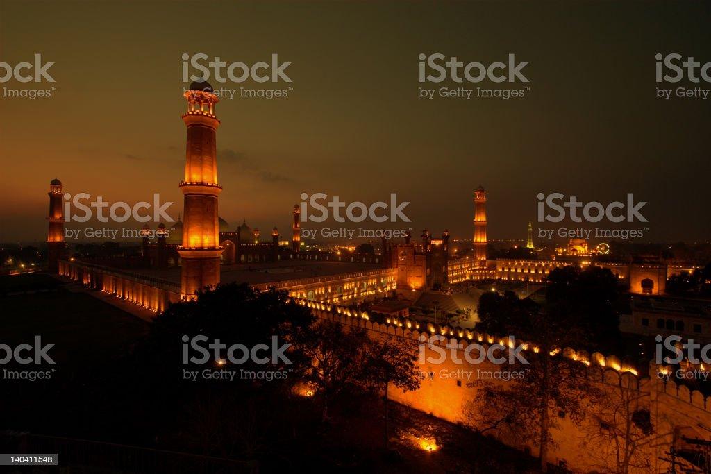 Badshahi Masjid at Night stock photo