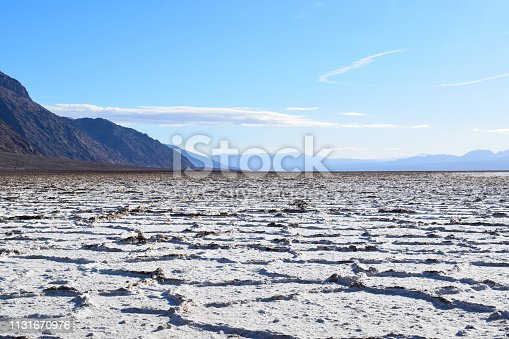 People visiting the deepest point of North America: Badwater basin. Photo taken in January 2019.