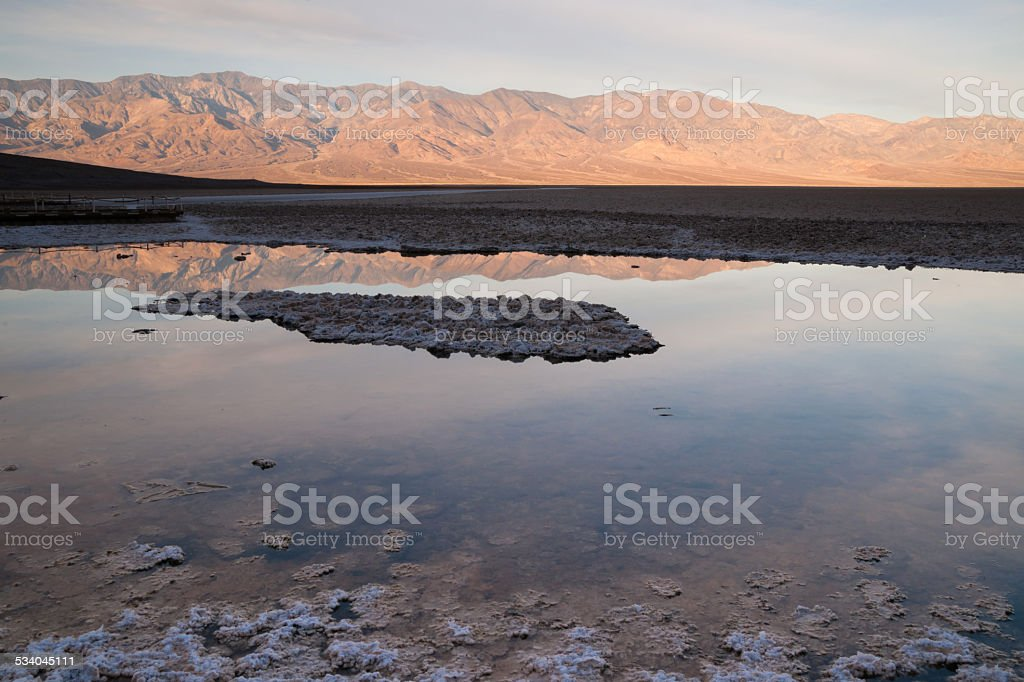 Badwater Basin Panamint Range Sunrise Death Valley National Park stock photo