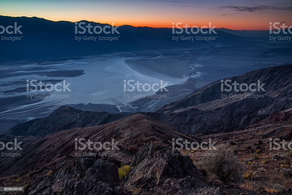 Badwater basin seen from Dante's view, Death Valley, California, stock photo