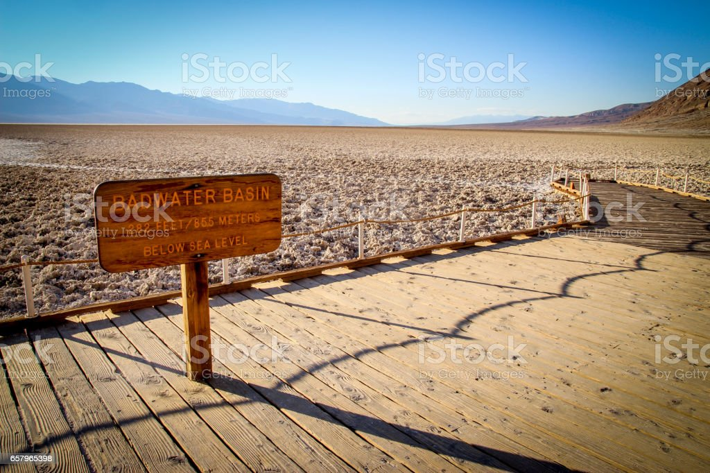Badwater Basin Sign at the bottom of Death Valley stock photo