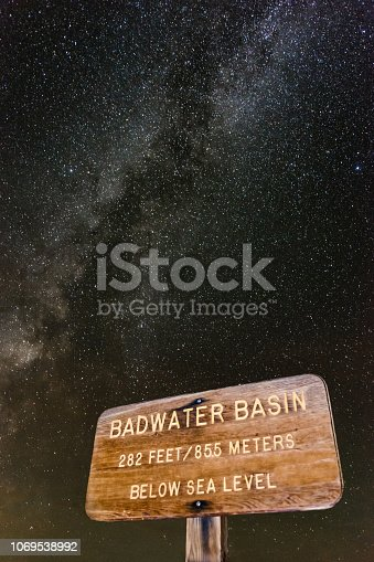 Badwater basin wood sign at night with the milkyway in the foreground. Death Valley, California. USA
