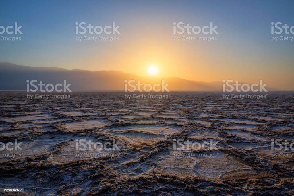 Badwater Basin Sunset stock photo