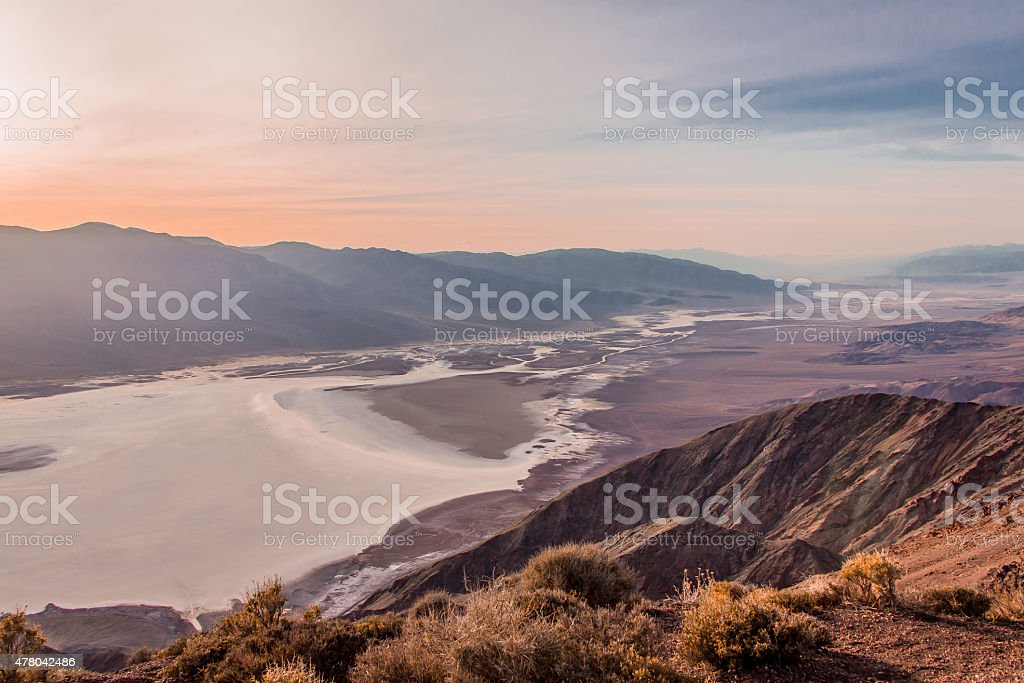 Badwater Basin, sunset, view from Dante's View stock photo