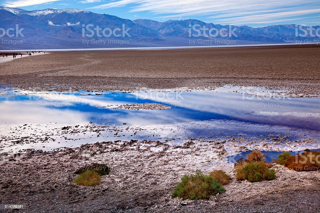 Badwater Panamint Mountains Death Valley National Park California stock photo