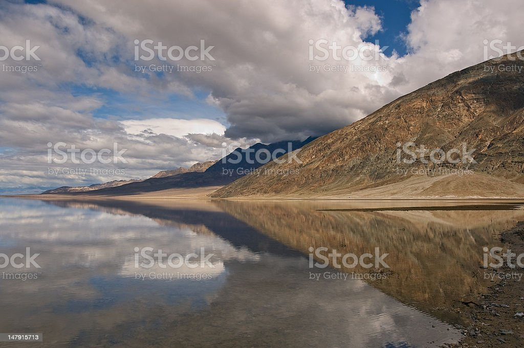 Badwater Reflection, Death Valley stock photo