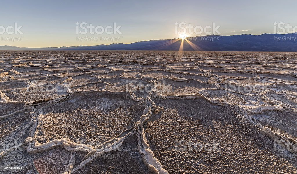 Badwater sunset stock photo