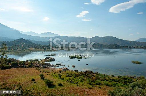 Latmos (Besparmak) Mountain and the village of Kapikiri among the ruins of Heracleia