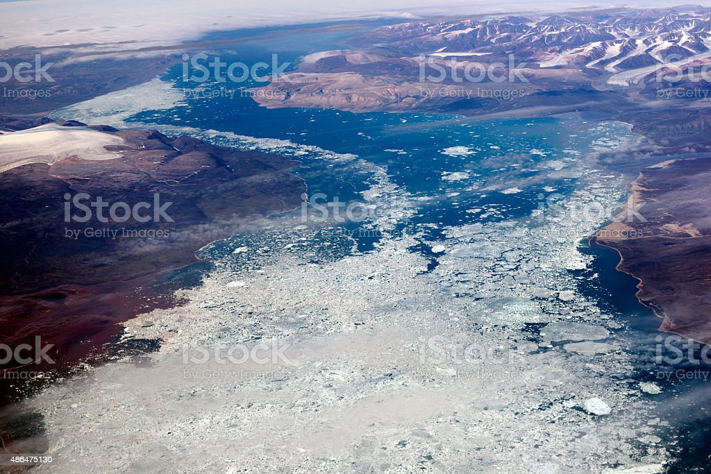 Baffin Island, aerial view from 12000 metres stock photo