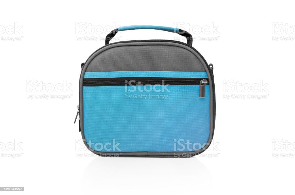 Bag for lunch on a white background. stock photo