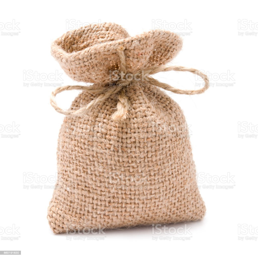 Bag from a sacking isolated on a white background stock photo