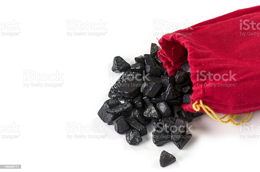 Bag of coal isolated on white stock photo