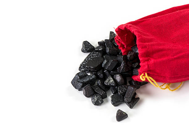 bag of coal isolated on white - bumpy stock pictures, royalty-free photos & images