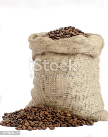 istock bag of coffee beans isolated on white background 187584074
