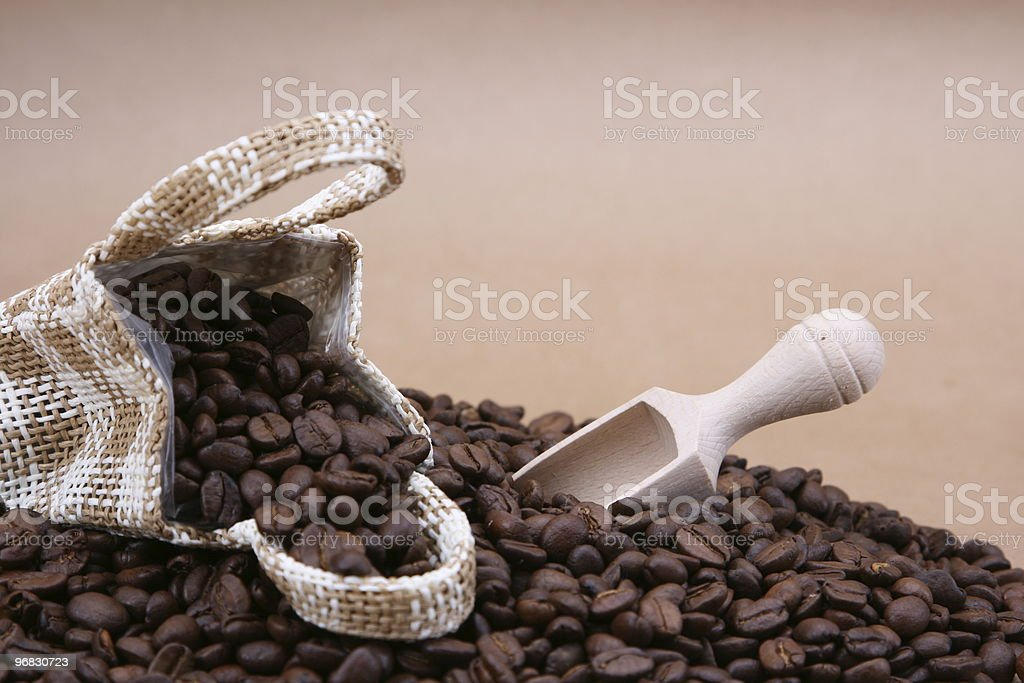 Bag of Coffee Beans with Scoop royalty-free stock photo