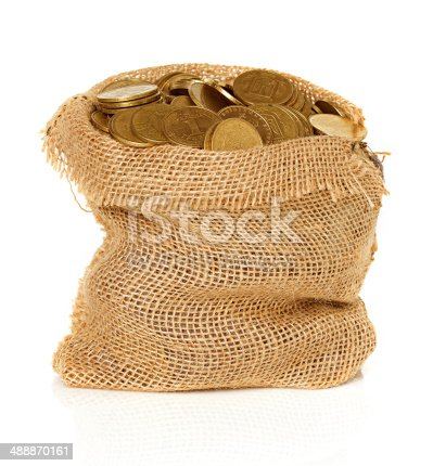 istock Bag of coins isolated 488870161