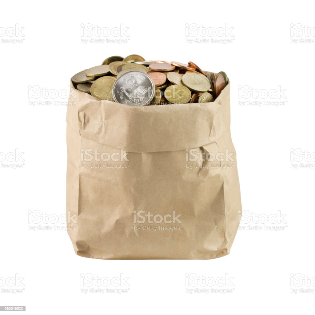 bag of coins on a white background royalty-free stock photo